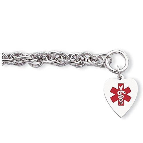 925 Sterling Silver Polished 8mm Engraveable Enameled Heart Medical ID Toggle Bracelet 7.75