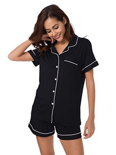 SIORO Womens Pajamas Short Sleeve Pajama Set Soft Cotton Sleepwear 2 Piece Lightweight Loungewear Soft Sleepshirt with Pants, Black with White Piping, M