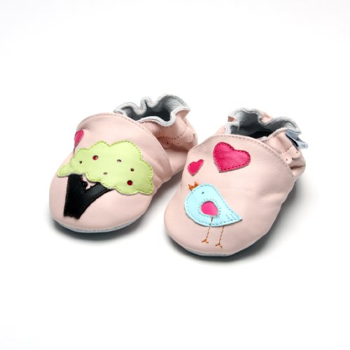 Jinwood designed by amsomo - Patucos de Piel para niña Multicolor - tree&bird pink soft sole