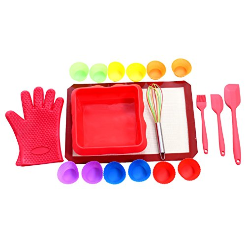 Baking Kit By UnicGlam Kids baking Set Girls Real Cupcake Making Kit One Complete Baking accessories for Beginners (Adult and Teens) and Professional Baking Lovers 19 Pieces ()