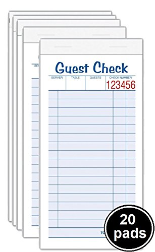 1InTheOffice Guest Check Unit Set, Carbonless Duplicate, 6 7/8 x 3 3/8, 50 Forms, 20/Pack