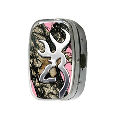 hoomin-pink-realtree-camo-browning-customize-unique-silver-square-pill-box-medicine-tablet-organizer