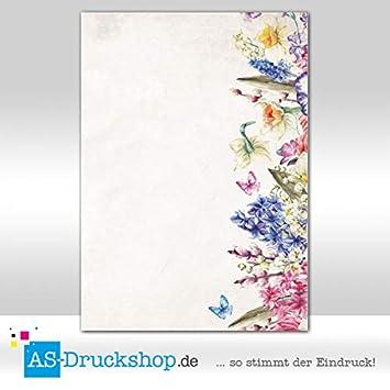 25 Blatt Blumen 90 g-Offsetpapier DIN A4 Designpapier Retro