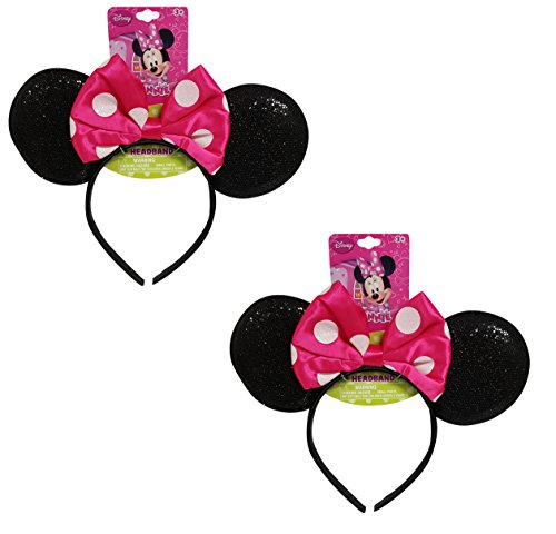 Pink Minnie Ears (Genuine UPD Minnie Mouse Sparkled Ear Shaped Headband with Hot Pink Bow Disney Official Licensed (2 pack))
