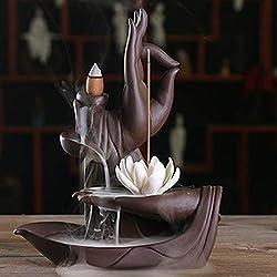 Clearance Sale!DEESEE(TM)Ceramic Purple Sand Zen Buddha Hand Sandalwood Backflow Incense Burner Decor (B)