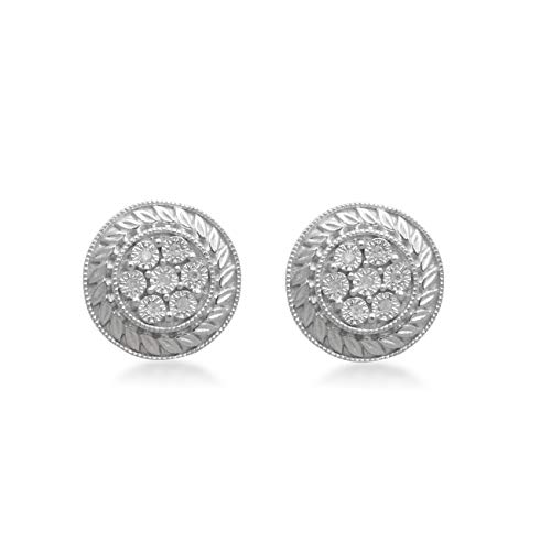 (Jewelili Sterling Silver Natural White Diamond Accent Cluster Stud Earrings )