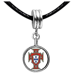 Chicforest Silver Plated UEFA Euro 2012 Portugal national soccer team Photo Sapphire Crystal September Birthstone Flower dangle Charm Beads Fits Pandora Charm