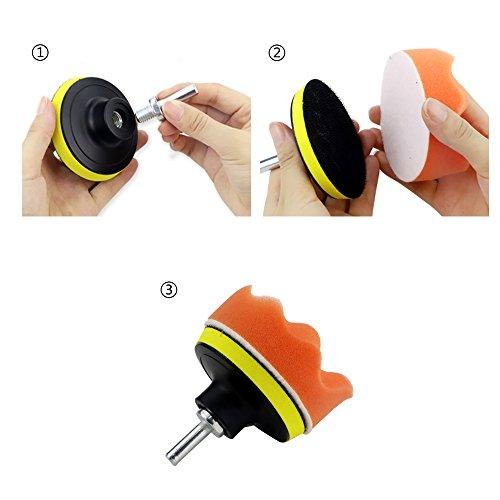 Coceca 26PCS 3 Inch Car Foam Drill Polishing Pads, Buffing Sponge Pads Kit for Car Sanding, Polishing, Waxing,Sealing Glaze by Coceca (Image #4)'