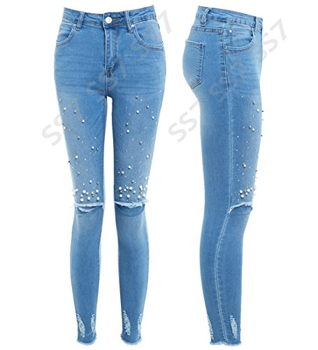 TAILLE 10 8 skinny Jeans 12 NEUF JEANS 6 Jean RIP Bleu perle SS7 Slim Femmes 14 genou Fit fnqFH1qp