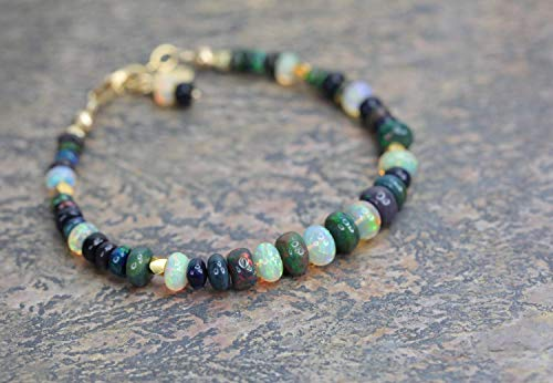 Black Opal Gemstone Bracelet Real Opal Gold - 7