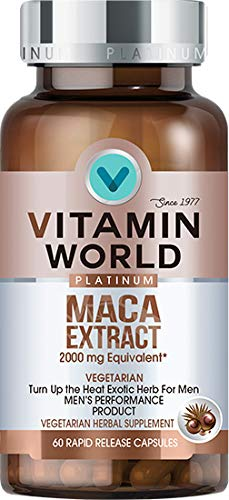 Vitamin World Platinum Maca Extract 2000 mg. 60 Capsules, Peruvian Maca Root, Nitric