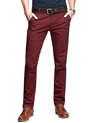 OCHENTA Mens Casual Slim-Tapered Flat-Front Pants Bordeaux Lable 33
