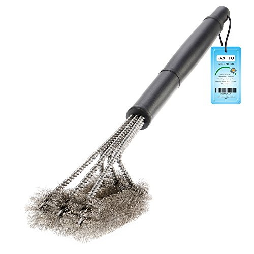 FAXTTO BBQ Grill Brush in Stainless Steel with Long Handle. A Powerful Accessory to Clean Barbeque Plates, Racks and Burners