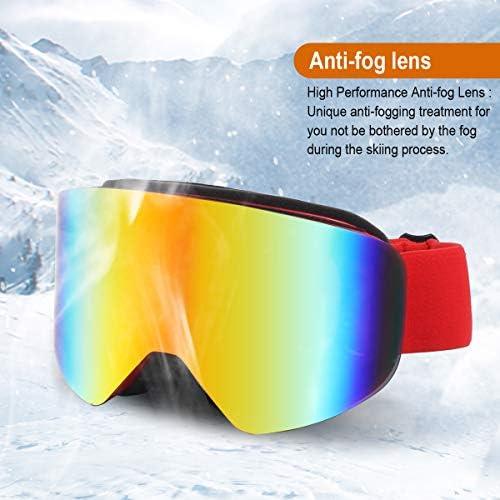 TYSKL Ski Goggles OTG for Men, Women Youth Snow Sports 100 UV Protection Dustproof Scratch Resistant Anti Fog Locking Magnetic Lens, Full REVO Coating