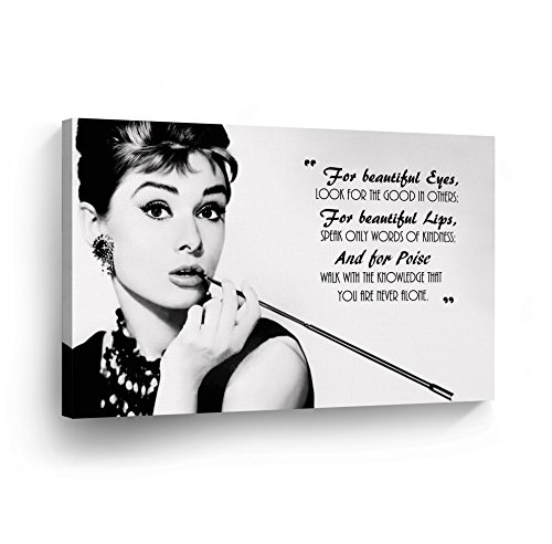 Smile Art Design Audrey Hepburn Breakfast at Tiffany`s Quotes Canvas Print Decorative Art Modern Wall Dcor Artwork Wrapped Wood Stretcher Bars - Ready to Hang -%100 Handmade in the USA