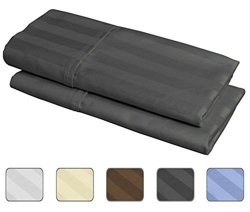 American Pillowcase - 100% Egyptian Cotton, 540 Thread Count 2 Pack Striped King Size Pillowcases - 4 Colors With Wrinkle Guard To Choose From - fits 20x36 (Color: Gray)