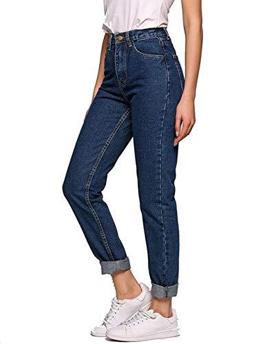 Women's Jeans, Solid Vintage High Waist Straight-Leg Denim Pants(Dark Blue, 28