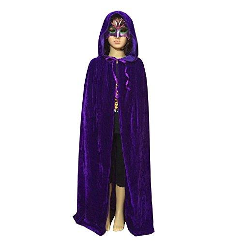 Unisex Children Hooded Cloak Kids Role Play Costume Halloween Chirstmas Party Cape (Medium, Purple)]()