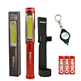 BUNDLE: Nebo Big Larry COB LED Work Light BLACK SILVER RED or CAMO with Holster and Lumintrail KeyChain Light (Red)