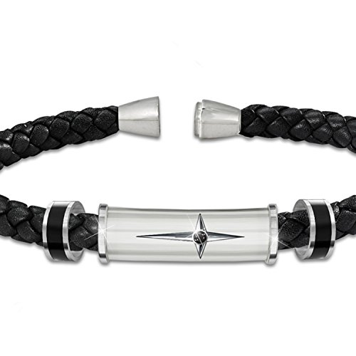 Bracelet-Protection-And-Strength-For-My-Son-Leather-And-Steel-Cross-Mens-Bracelet-by-The-Bradford-Exchange