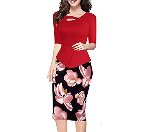 Sleeve Print Patchwork Dress Plus Size S-5XL Bodycon Pencil Dresses 59,Red Half Sleeve,S (997 Coupe)