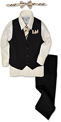 Johnnie Lene JL40 Pinstripe Boys Formal Dresswear Vest Set (5, Black/Ivory)