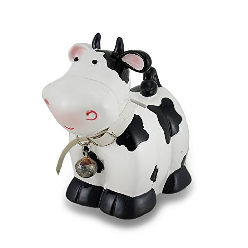 Zeckos Black and White Cow with Bell Coin Bank