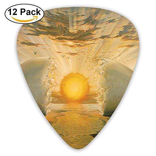 12-pack Fashion Classic Electric Guitar Picks Plectrums Sun Painting Instrument Standard Bass Guitarist ()