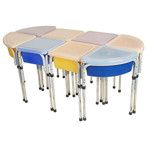 ECR4Kids Assorted Colors Sand and Water Adjustable Activity Play Table Center with Lids, Modular (8-Station)