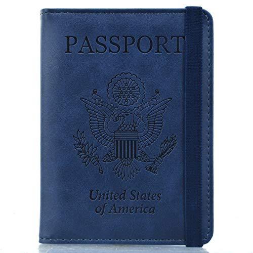 Kandouren RFID Blocking Passport Holder Cover Case,travel luggage passport wallet made with Blue Calf PU Leather for Men & - Case Calf Large Passport