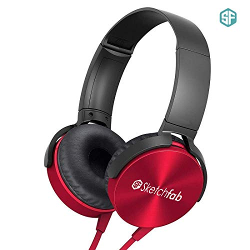 Sketchfab Extra bass Headphones Over The Ear Headset with Deep bass (Red)