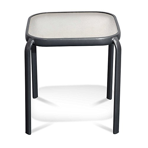 Never Rust Aluminum and Glass Outdoor End Table in Grey