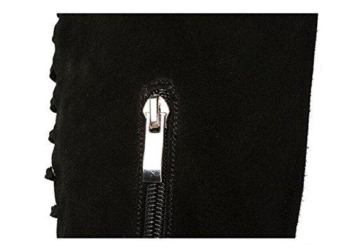 Caldo pelle donna con alto gamba tacco inverno opaca vera moda cinghie 37 scarpe Bootie stivali pelle CrUwgIxC
