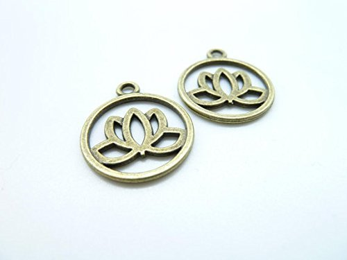Flower Disc Charm (50pcs 20mm Antique Bronze Lovely Round Lotus Flower Charm Pendant C7913)