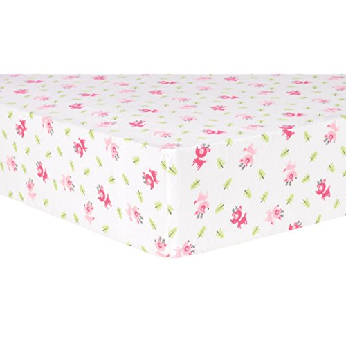 Trend Lab Pink Reindeer Deluxe Flannel Fitted Crib -