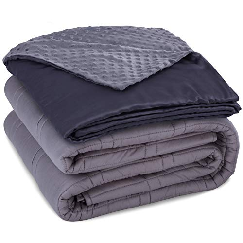 CoziRest Cooling Weighted Blanket Deluxe Set   15 lbs 60x80   Double Stitched Heavy Blanket with Dual Sided Cool Bamboo and Warm Minky Removable Cover. Best Calming Blankets For Adults From 140-190 lb