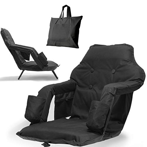 Foldable Reclining Stadium Seat For Bleachers With Legs - New 2020 Patent Pending Premium Model + Free Carry/Storage Bag- High Backrest + Thick Padded Back & Armrest+ Water Resistant (Black, Standard)