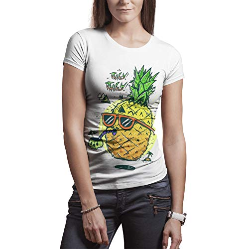 Juicy Vacation Pineapple Women Casual Breathable Shirts Summer Knitted Top ()