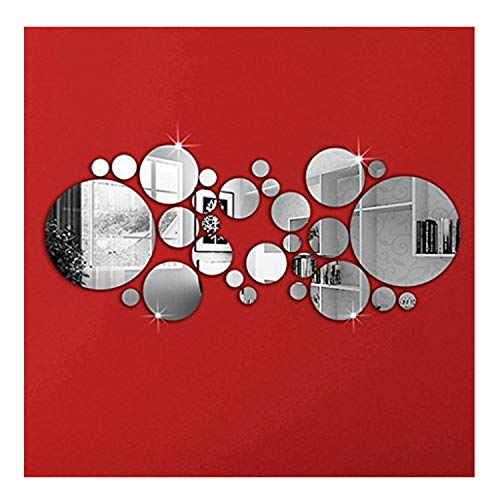 OMGAI DIY Mirror Wall Sticker, Removable Round Acrylic Mirror Decor of Self Adhesive Circle for Art Window Wall Decal Kitchen Home Decoration, 30Pcs ()