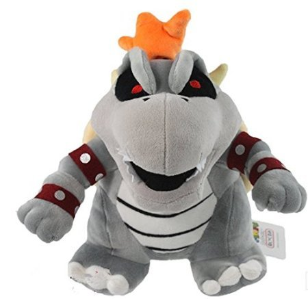 super mario bros bowser koopa dry bone grey 10' plush doll toy ()