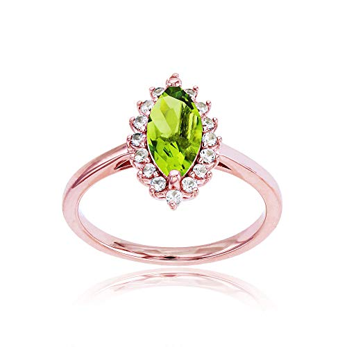 Sterling Silver Rose 10x5 Marquise Peridot & Round Created White Sapphire Ring