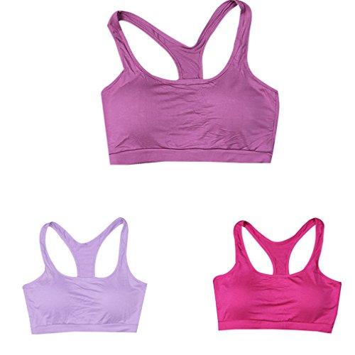 Secret Paradise–Sujetador de las mujeres de color fluorescente deporte sujetador acolchado Fitness espalda cruzada chaleco Light Purple/Purple/Rose