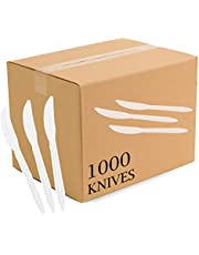 Plasticpro Cutlery Plastic Knives Medium Weight Disposable Silverware White (1000 Count)
