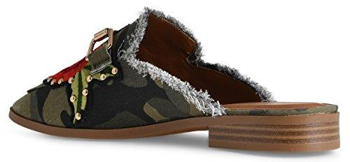 LUSTHAVE Frauen Gold Plated Slide On Slip auf Mule Loafer Wohnungen Schuhe Schwarzer Imsu