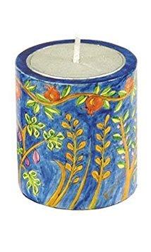 Holder Candle Wood Emanuel - Pomegranate Designed Wooden Handpainted Memorial (Yahrzeit) Candle Holder