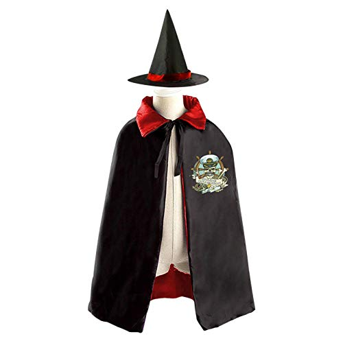 69PF-1 Halloween Cape Matching Witch Hat Pirate Captain Wizard Cloak Masquerade Cosplay Custume Robe Kids/Boy/Girl Gift Red