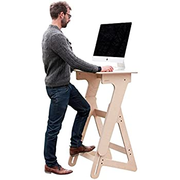 Amazon Com Jaswig Adjustable Height Stand Up Desk Wood