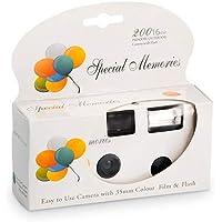 Lot de 10 appareils photo jetables blancs - Design festif avec des ballons - Flash intégré