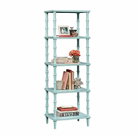 Sauder 419516 Bookcase, Storage Tower Eden Rue Seafoam Etagere - Bamboo Style Legs