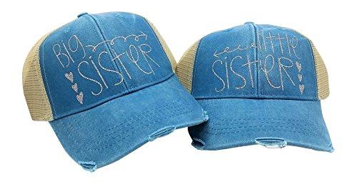 Loaded Lids Women's Big Sister Little Sister Trucker Style Baseball Cap Bundle (Sister Womens Cap)